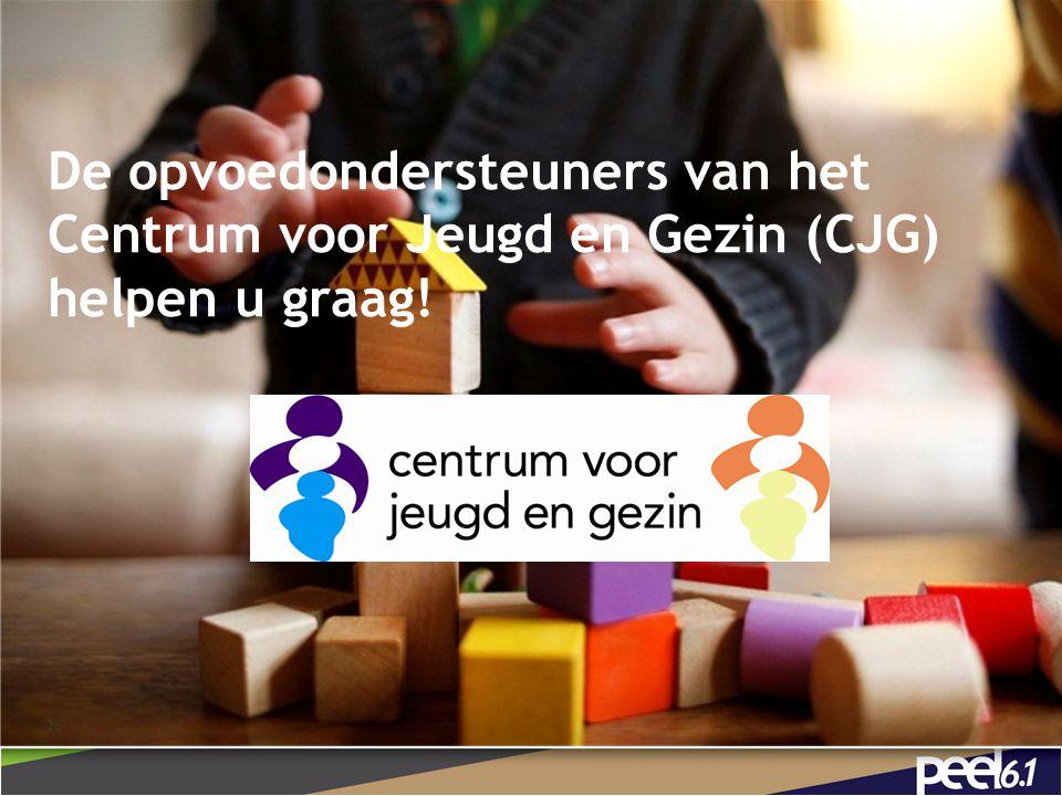De opvoedondersteuners van het Centrum voor Jeugd en Gezin (CJG) helpen u graag!