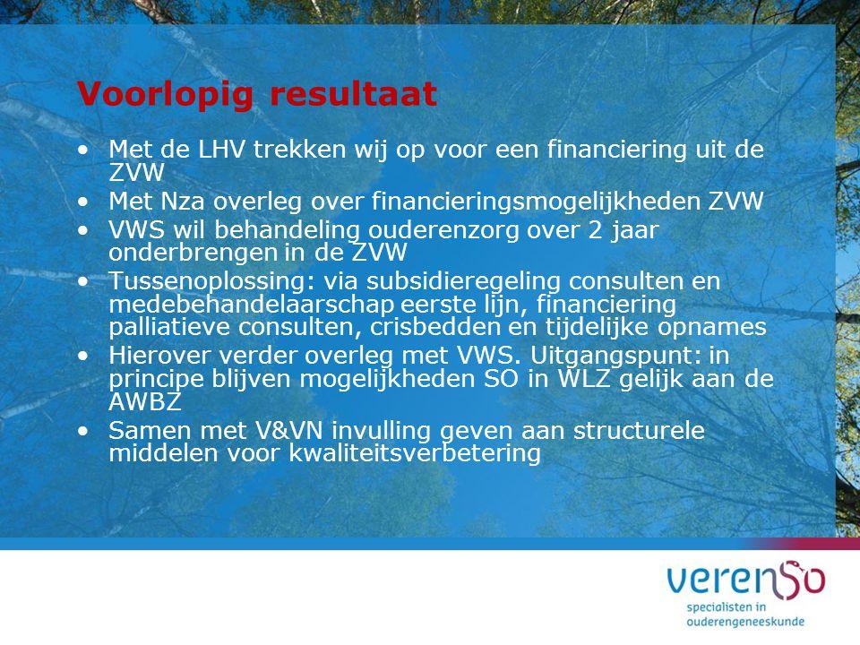 Voorlopig resultaat Met de LHV trekken wij op voor een financiering uit de ZVW. Met Nza overleg over financieringsmogelijkheden ZVW.