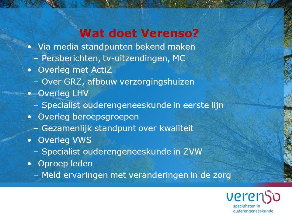 Wat doet Verenso Via media standpunten bekend maken