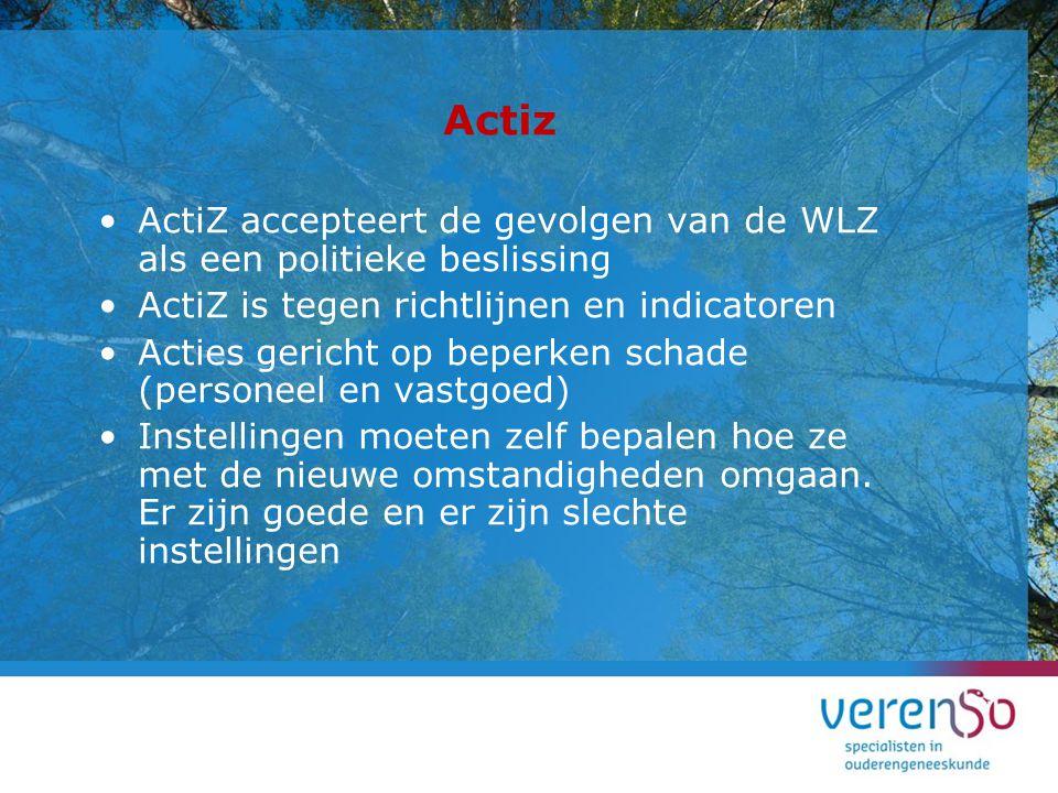 Actiz ActiZ accepteert de gevolgen van de WLZ als een politieke beslissing. ActiZ is tegen richtlijnen en indicatoren.