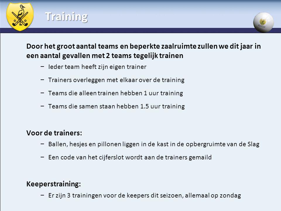 Training Door het groot aantal teams en beperkte zaalruimte zullen we dit jaar in een aantal gevallen met 2 teams tegelijk trainen.
