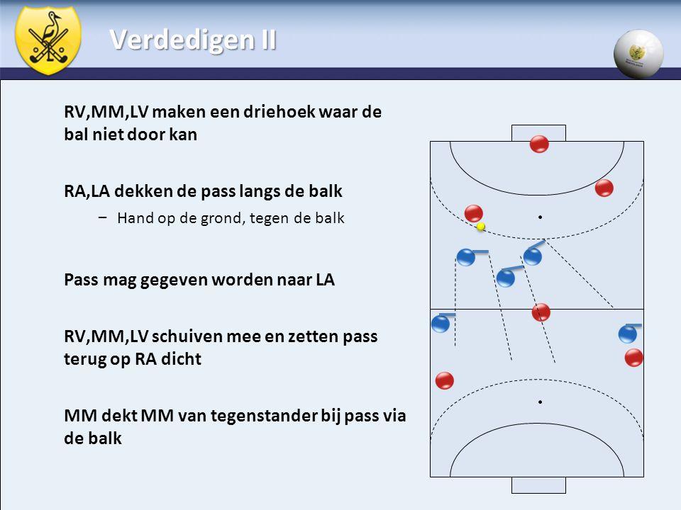 Verdedigen II RV,MM,LV maken een driehoek waar de bal niet door kan