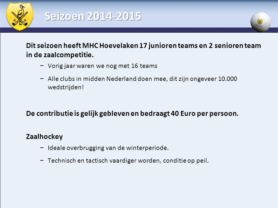 Seizoen 2014-2015 Dit seizoen heeft MHC Hoevelaken 17 junioren teams en 2 senioren team in de zaalcompetitie.