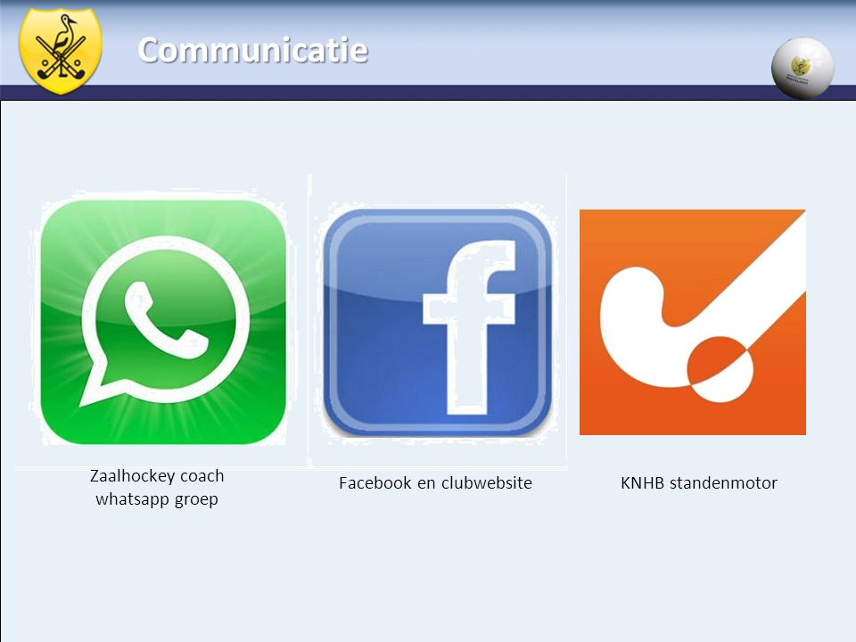Communicatie Zaalhockey coach whatsapp groep Facebook en clubwebsite