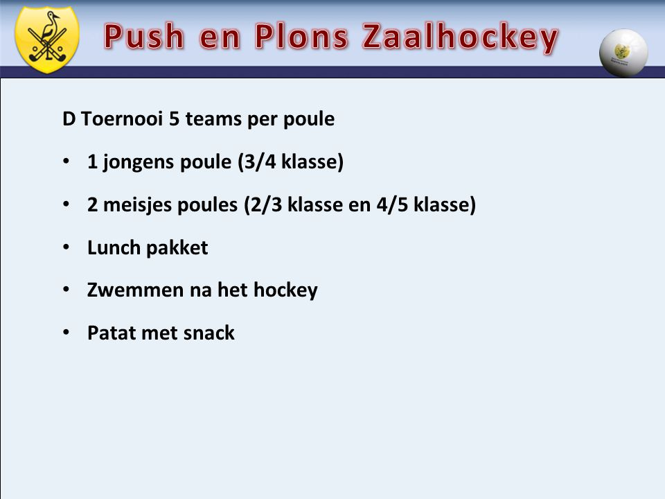 Push en Plons Zaalhockey