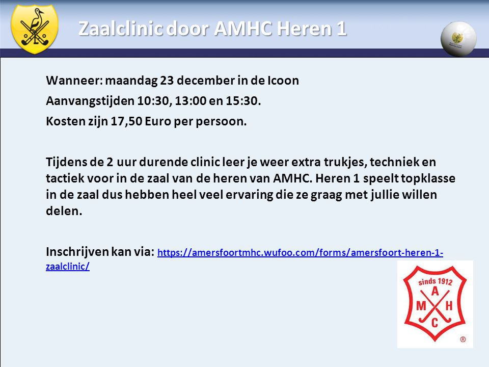 Zaalclinic door AMHC Heren 1