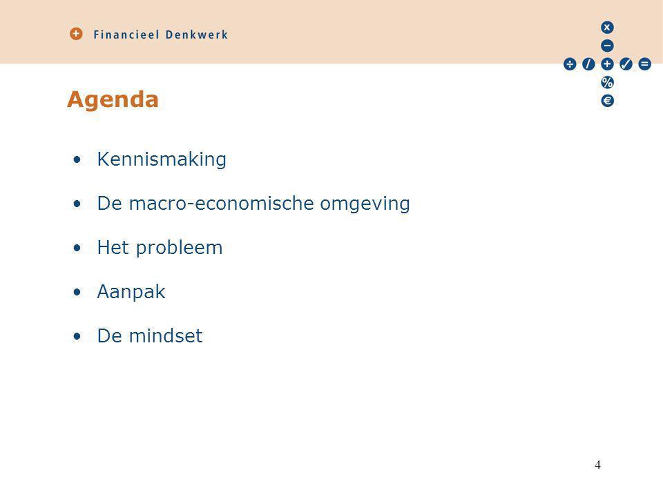 Agenda Kennismaking De macro-economische omgeving Het probleem Aanpak
