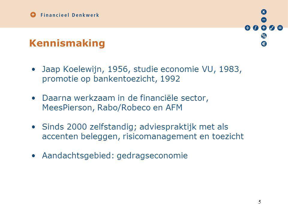 Kennismaking Jaap Koelewijn, 1956, studie economie VU, 1983, promotie op bankentoezicht, 1992.