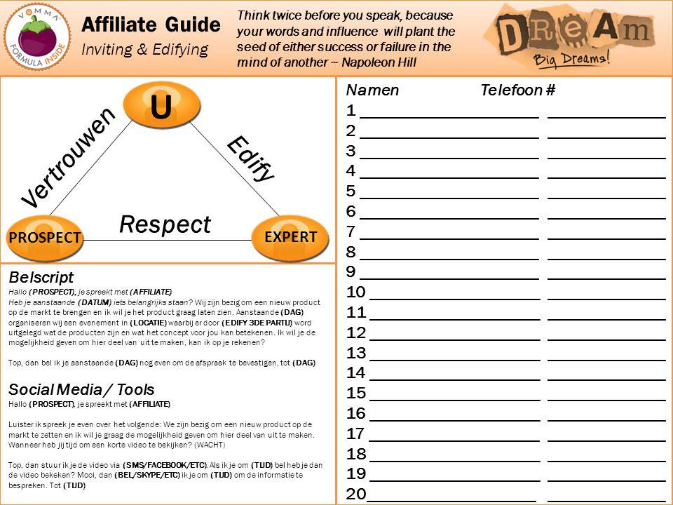 U Vertrouwen Edify Respect Affiliate Guide Inviting & Edifying