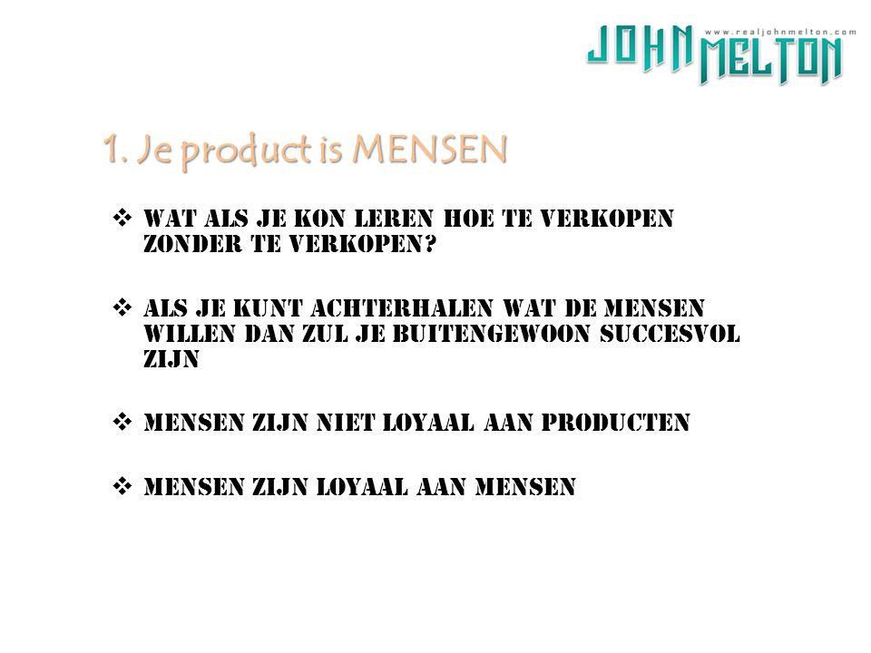 1. Je product is MENSEN Wat als je kon leren hoe te verkopen zonder te verkopen