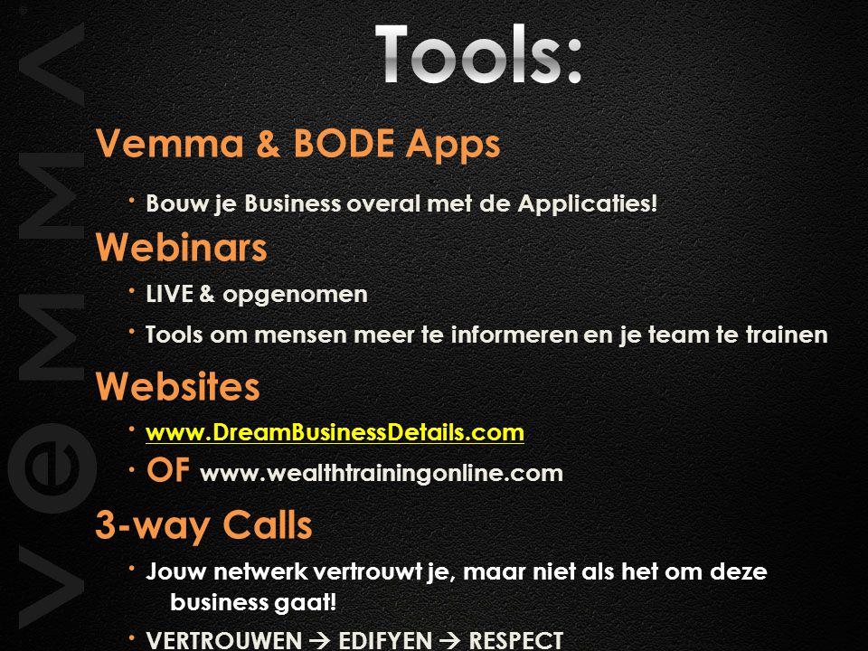 Tools: ∙ Bouw je Business overal met de Applicaties! Vemma & BODE Apps