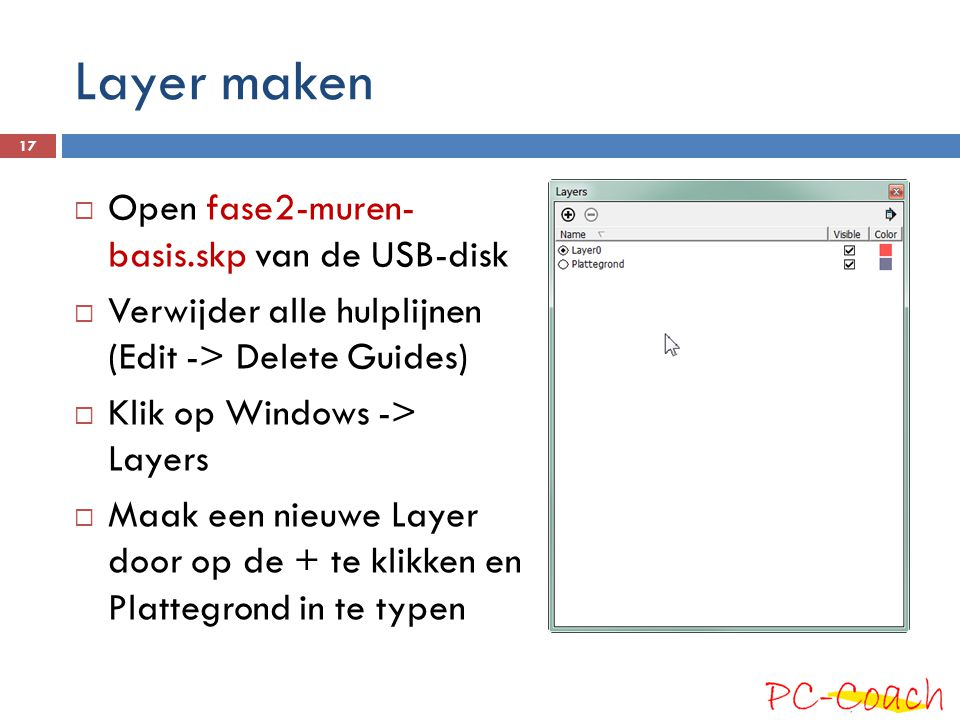 Layer maken Open fase2-muren- basis.skp van de USB-disk