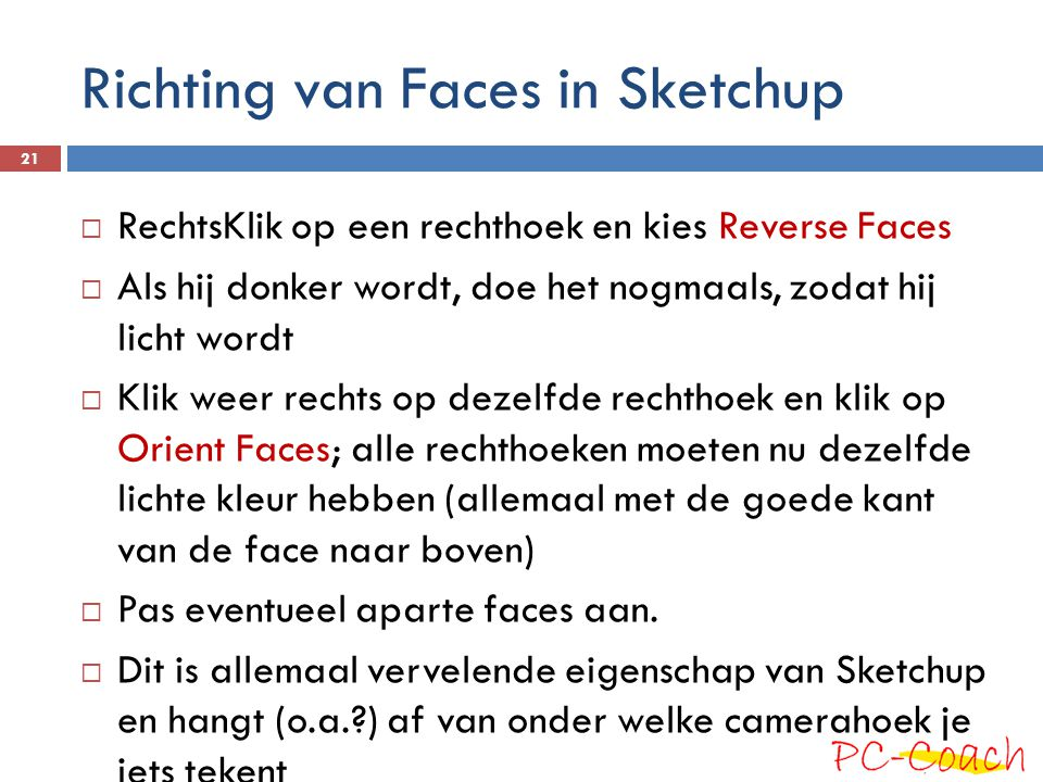 Richting van Faces in Sketchup