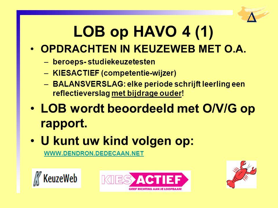 LOB op HAVO 4 (1) LOB wordt beoordeeld met O/V/G op rapport.