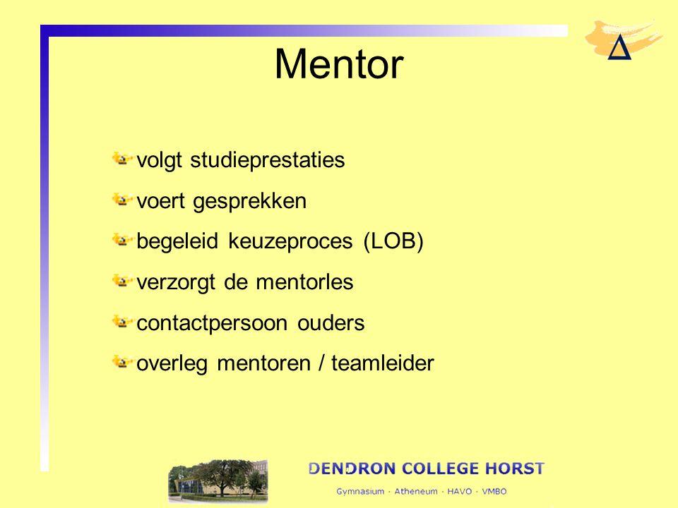 Mentor volgt studieprestaties voert gesprekken