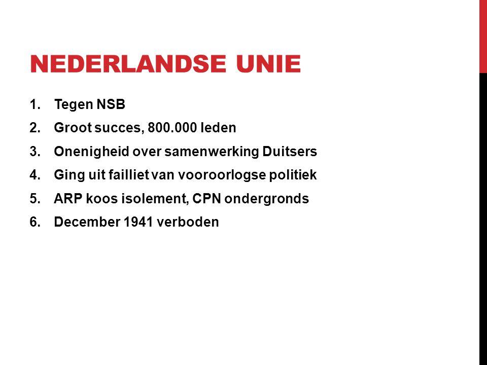 Nederlandse Unie Tegen NSB Groot succes, 800.000 leden