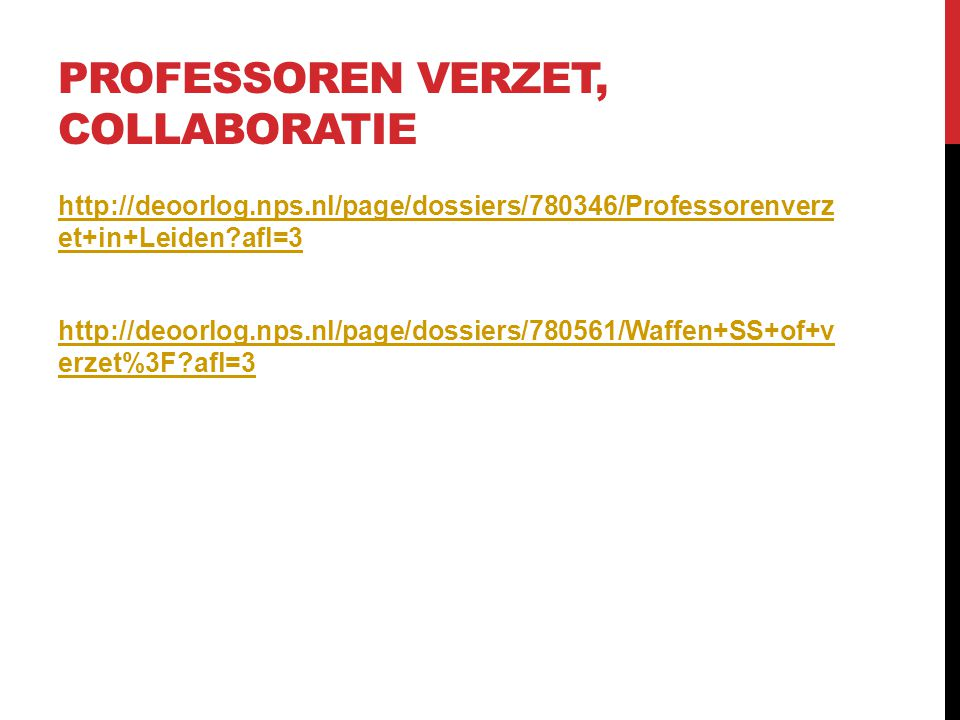 Professoren verzet, collaboratie