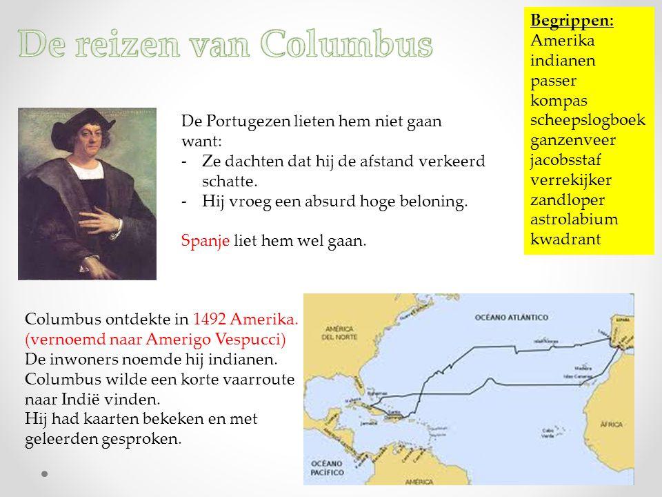 De reizen van Columbus Begrippen: Amerika indianen passer kompas