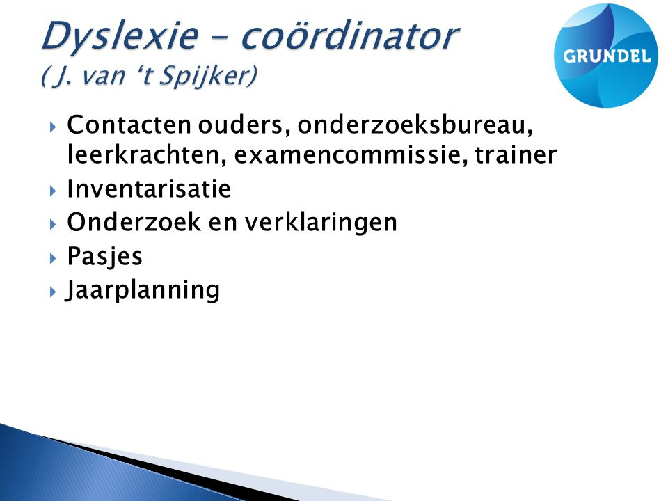 Dyslexie – coördinator ( J. van 't Spijker)