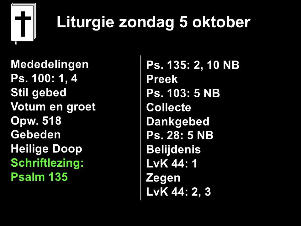 Liturgie zondag 5 oktober