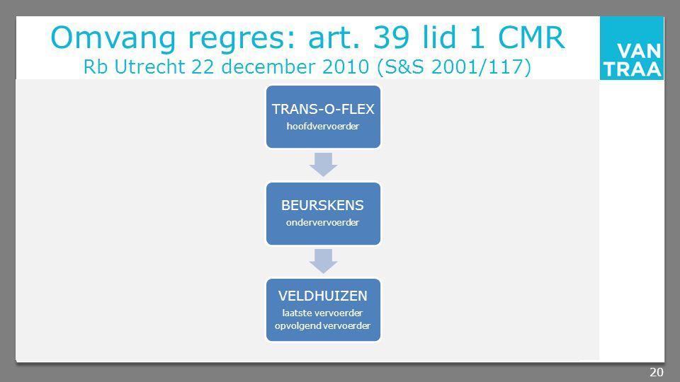 Omvang regres: art. 39 lid 1 CMR Rb Utrecht 22 december 2010 (S&S 2001/117)