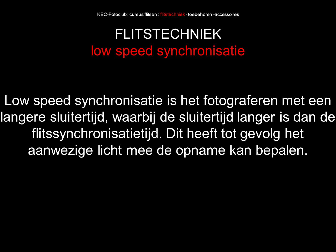 low speed synchronisatie