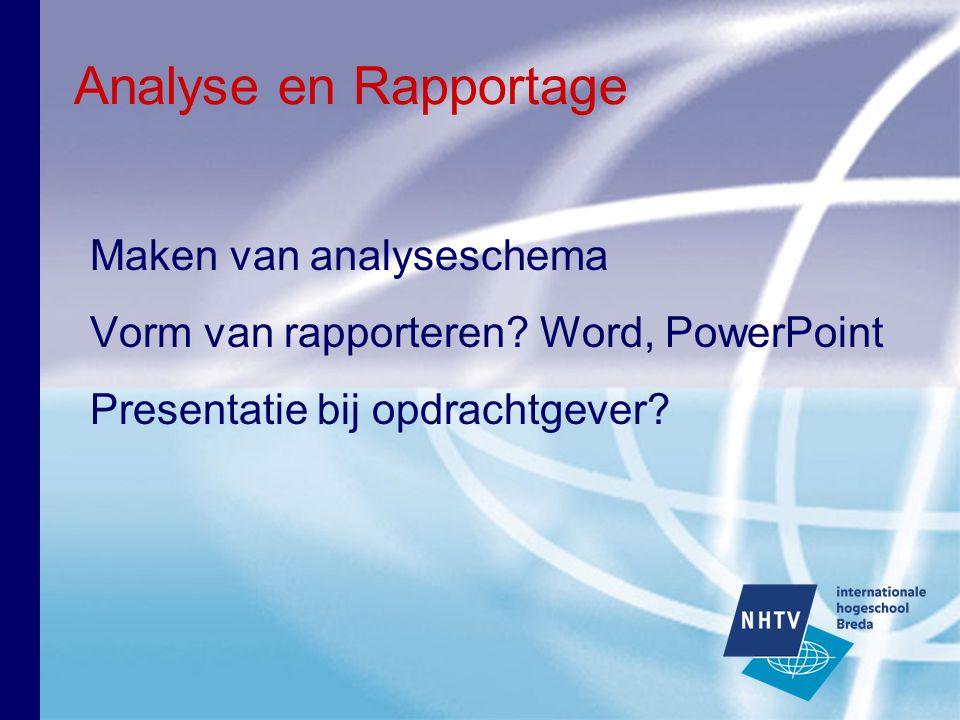 Analyse en Rapportage Maken van analyseschema