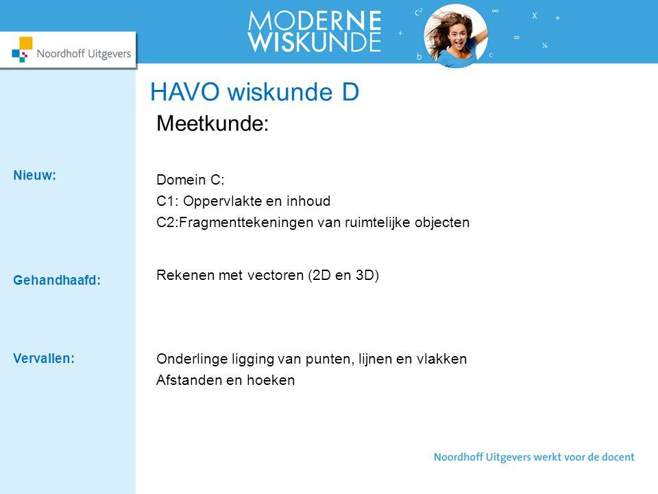 HAVO wiskunde D Meetkunde: Domein C: C1: Oppervlakte en inhoud