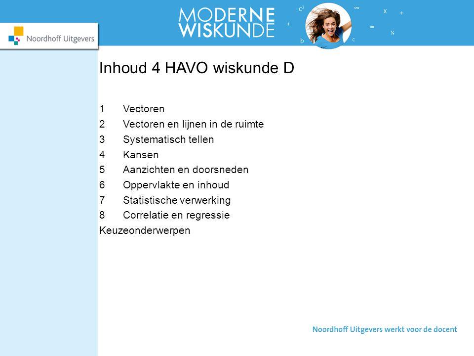 Inhoud 4 HAVO wiskunde D Vectoren Vectoren en lijnen in de ruimte