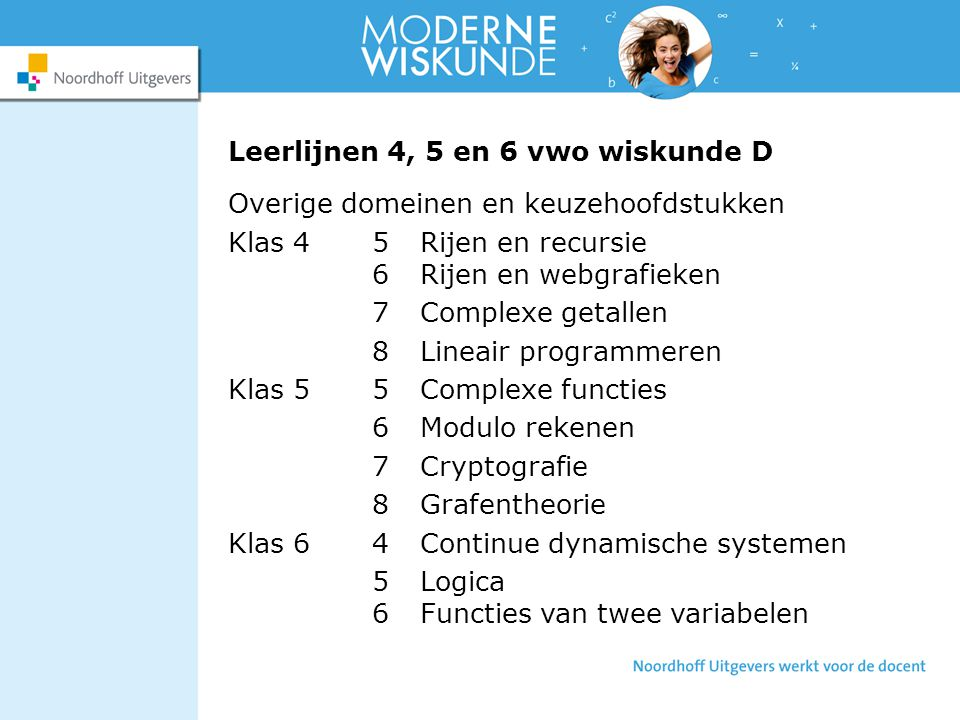 Leerlijnen 4, 5 en 6 vwo wiskunde D