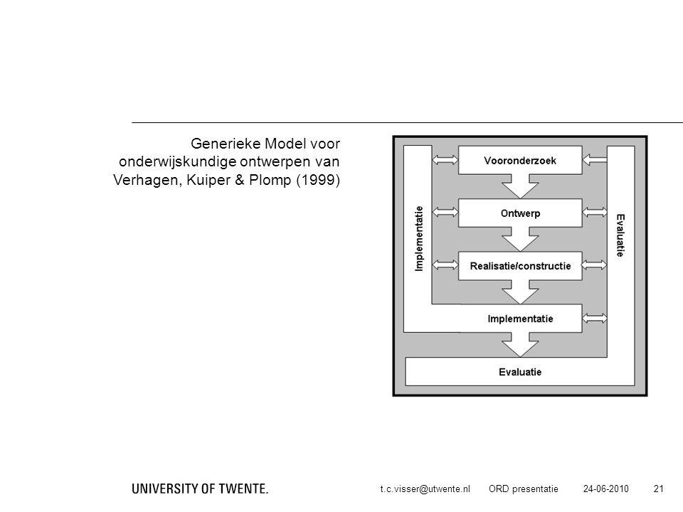 onderwijskundige ontwerpen van Verhagen, Kuiper & Plomp (1999)