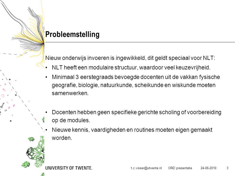 Probleemstelling Nieuw onderwijs invoeren is ingewikkeld, dit geldt speciaal voor NLT: