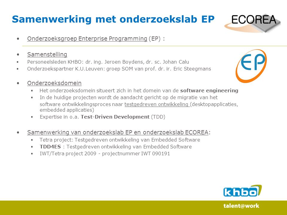 Samenwerking met onderzoekslab EP