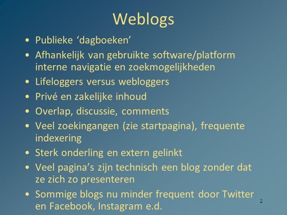 Weblogs Publieke 'dagboeken'
