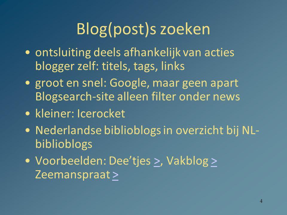 Blog(post)s zoeken ontsluiting deels afhankelijk van acties blogger zelf: titels, tags, links.