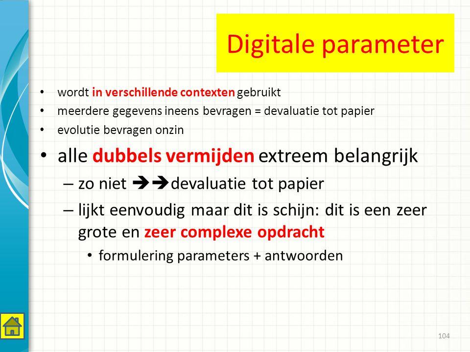 Digitale parameter alle dubbels vermijden extreem belangrijk