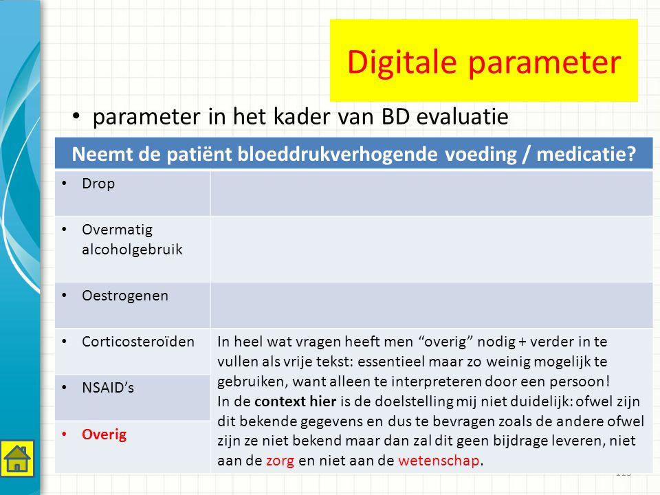 Neemt de patiënt bloeddrukverhogende voeding / medicatie