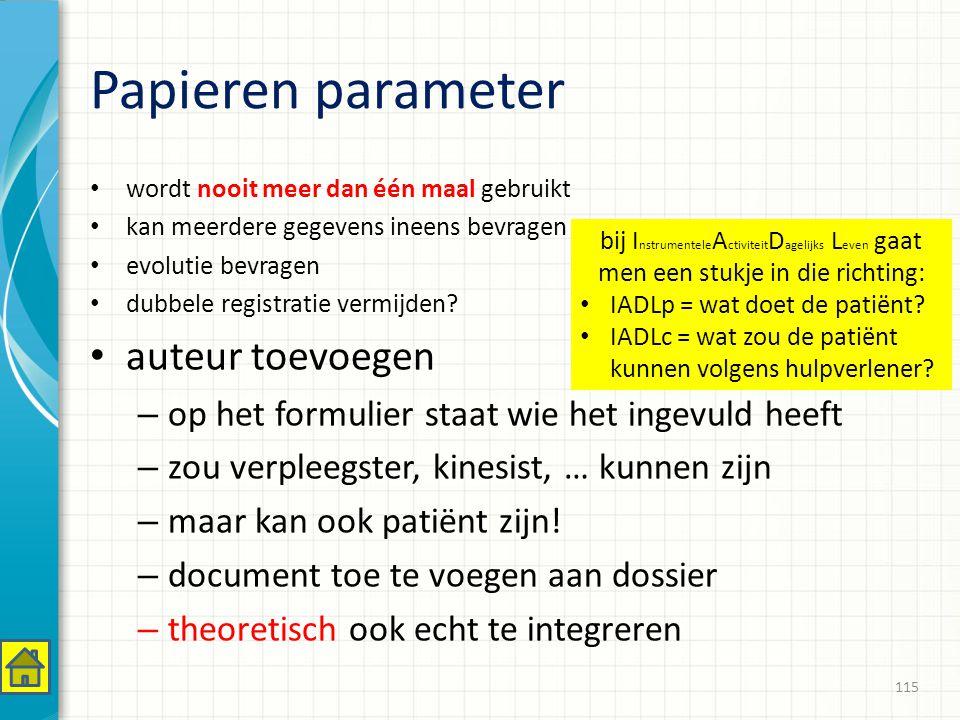 Papieren parameter auteur toevoegen