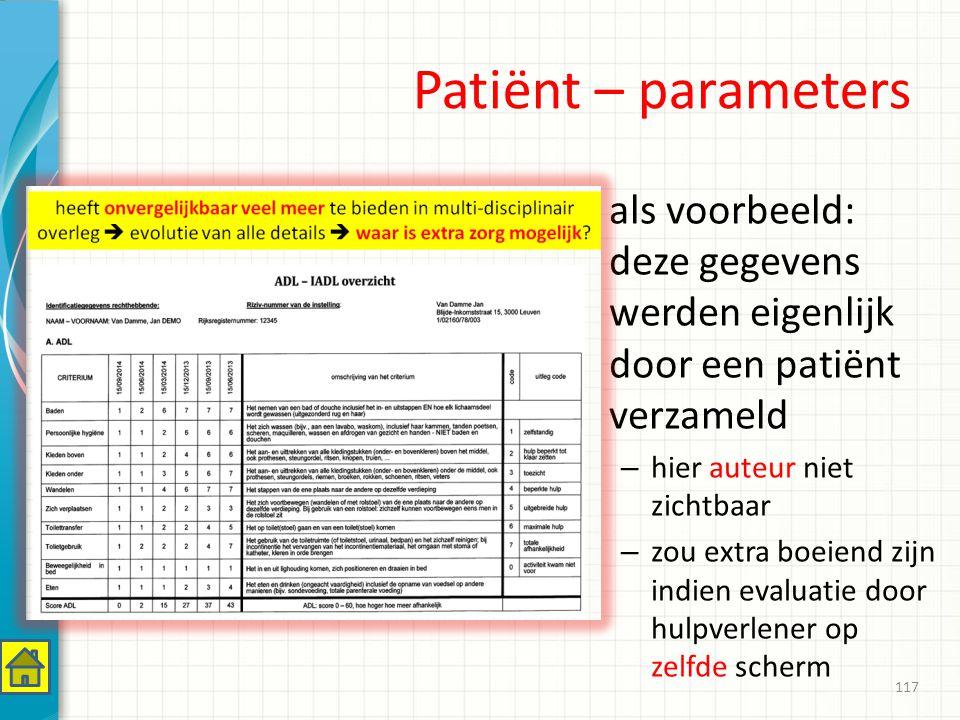 Patiënt – parameters als voorbeeld: deze gegevens werden eigenlijk door een patiënt verzameld. hier auteur niet zichtbaar.