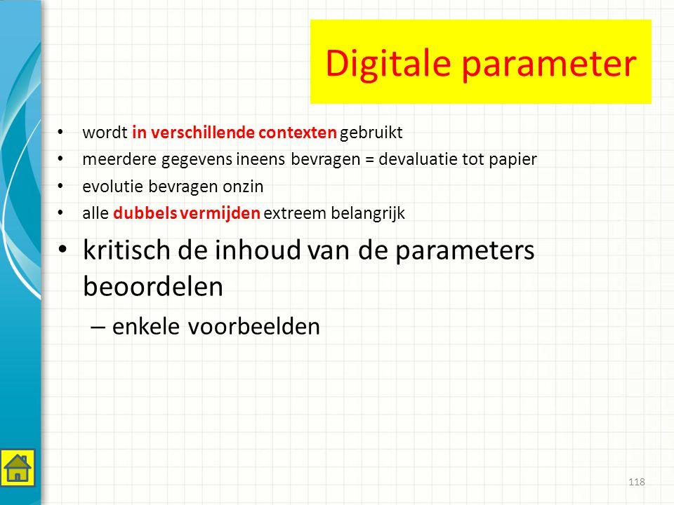 Digitale parameter kritisch de inhoud van de parameters beoordelen