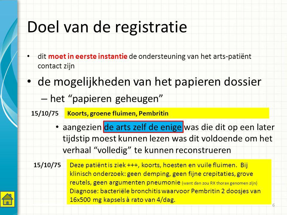 Doel van de registratie