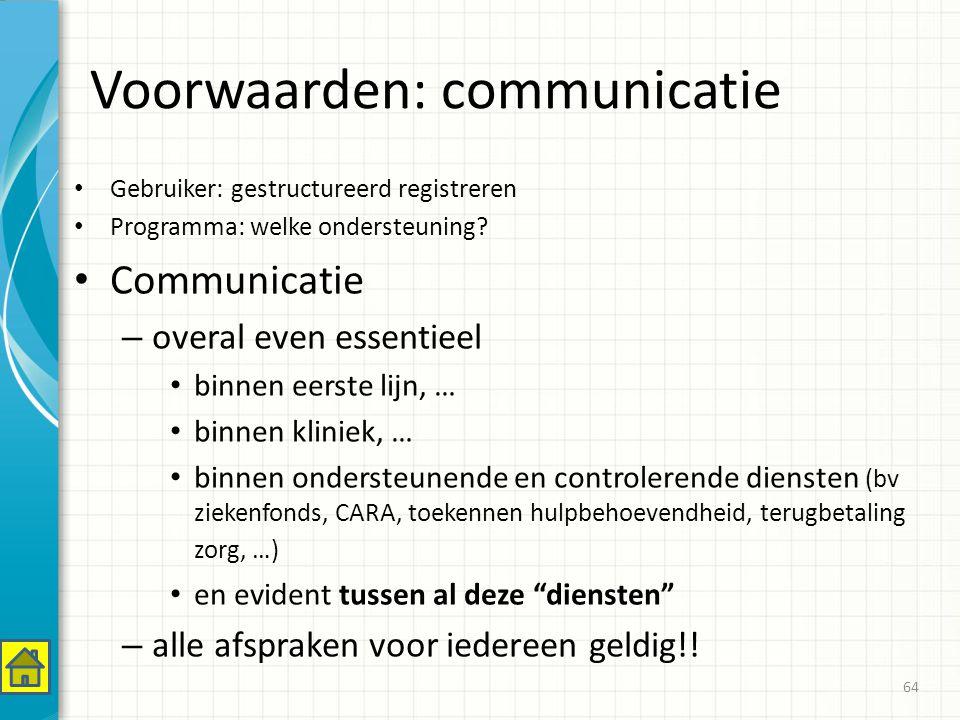 Voorwaarden: communicatie