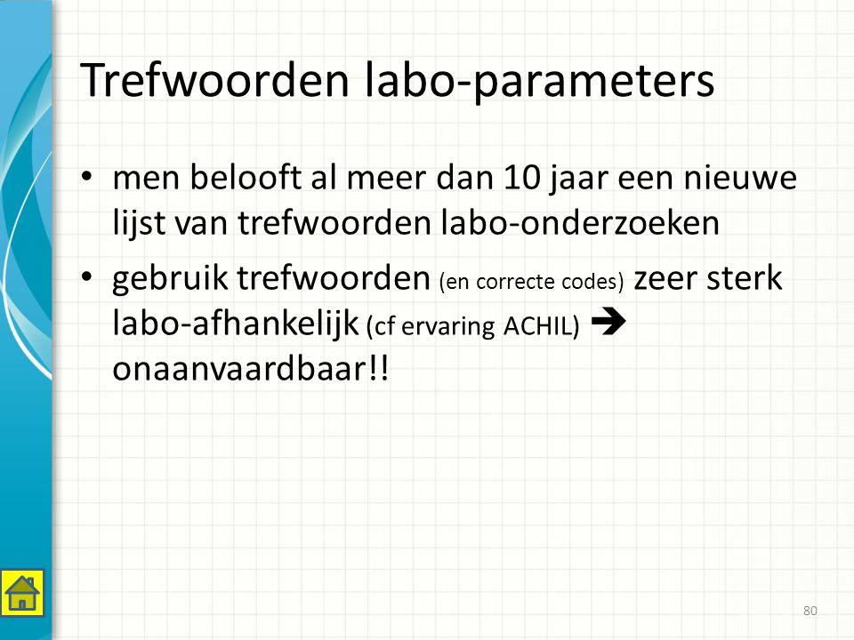 Trefwoorden labo-parameters