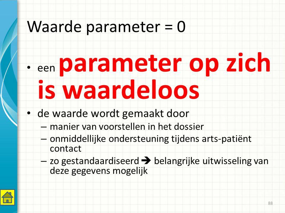 Waarde parameter = 0 een parameter op zich is waardeloos