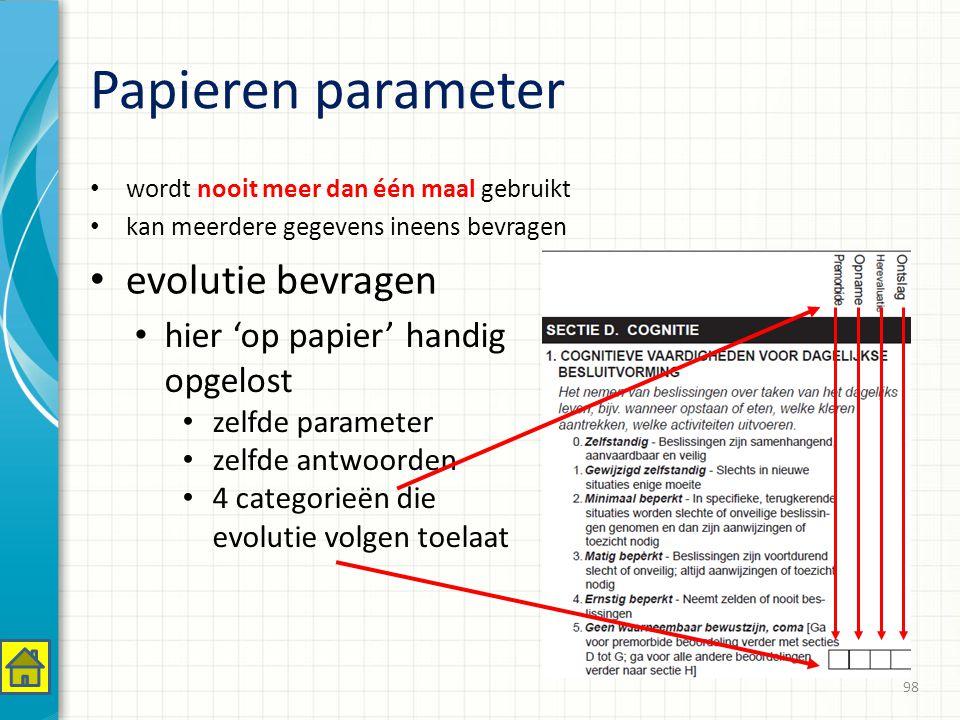 Papieren parameter evolutie bevragen hier 'op papier' handig opgelost