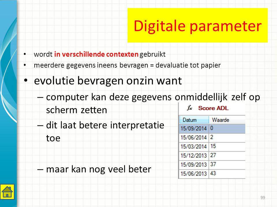 Digitale parameter evolutie bevragen onzin want