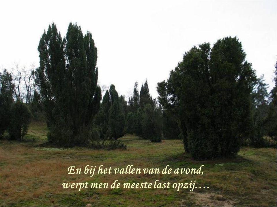 En bij het vallen van de avond, werpt men de meeste last opzij….