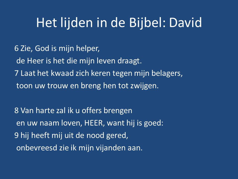 Het lijden in de Bijbel: David