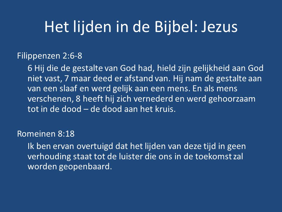 Het lijden in de Bijbel: Jezus