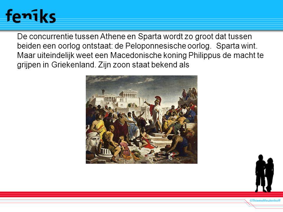 De concurrentie tussen Athene en Sparta wordt zo groot dat tussen beiden een oorlog ontstaat: de Peloponnesische oorlog.